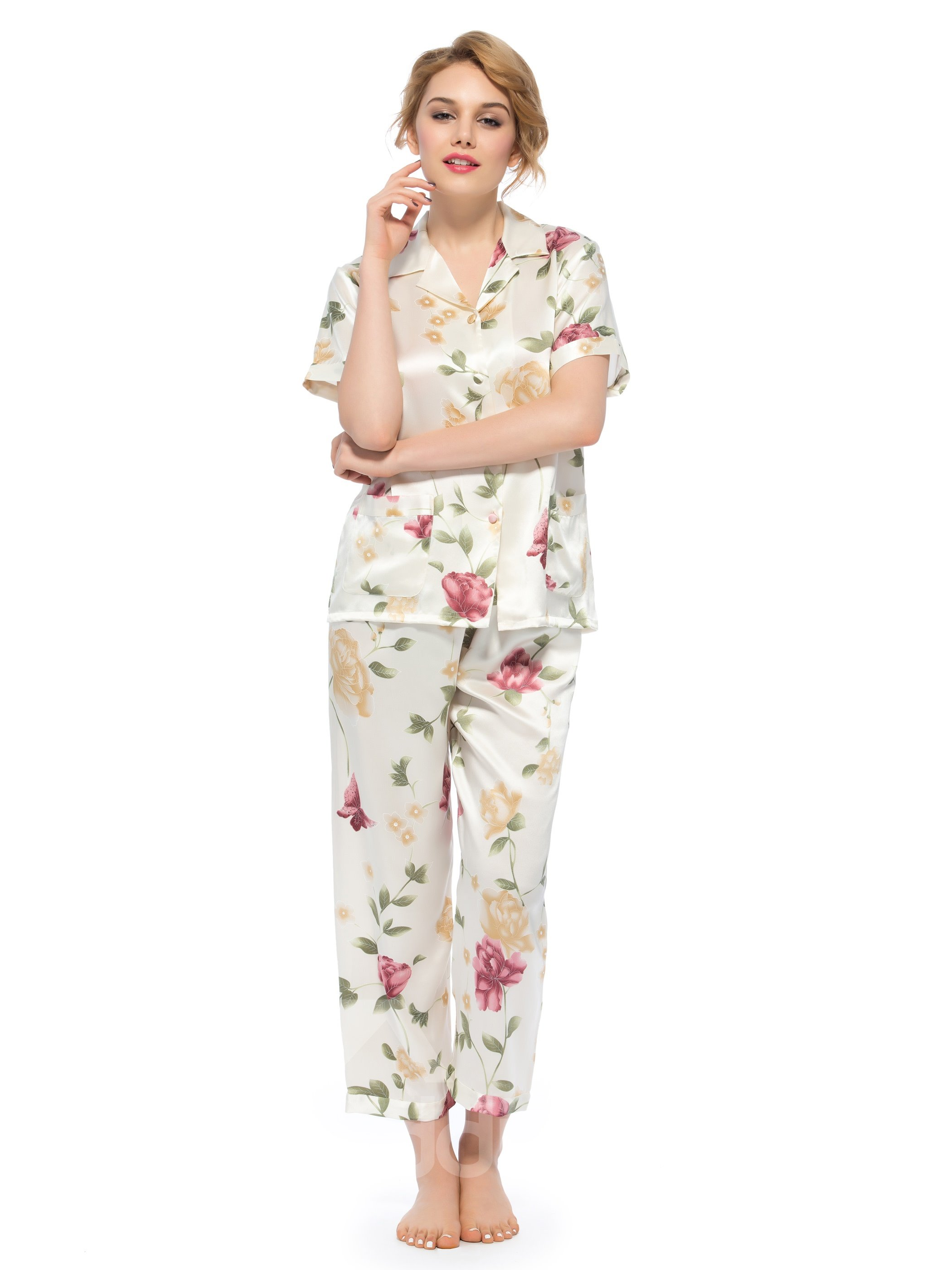 Wonderful Notched Collar Short Sleeves Silk Wrapped Button Pajamas