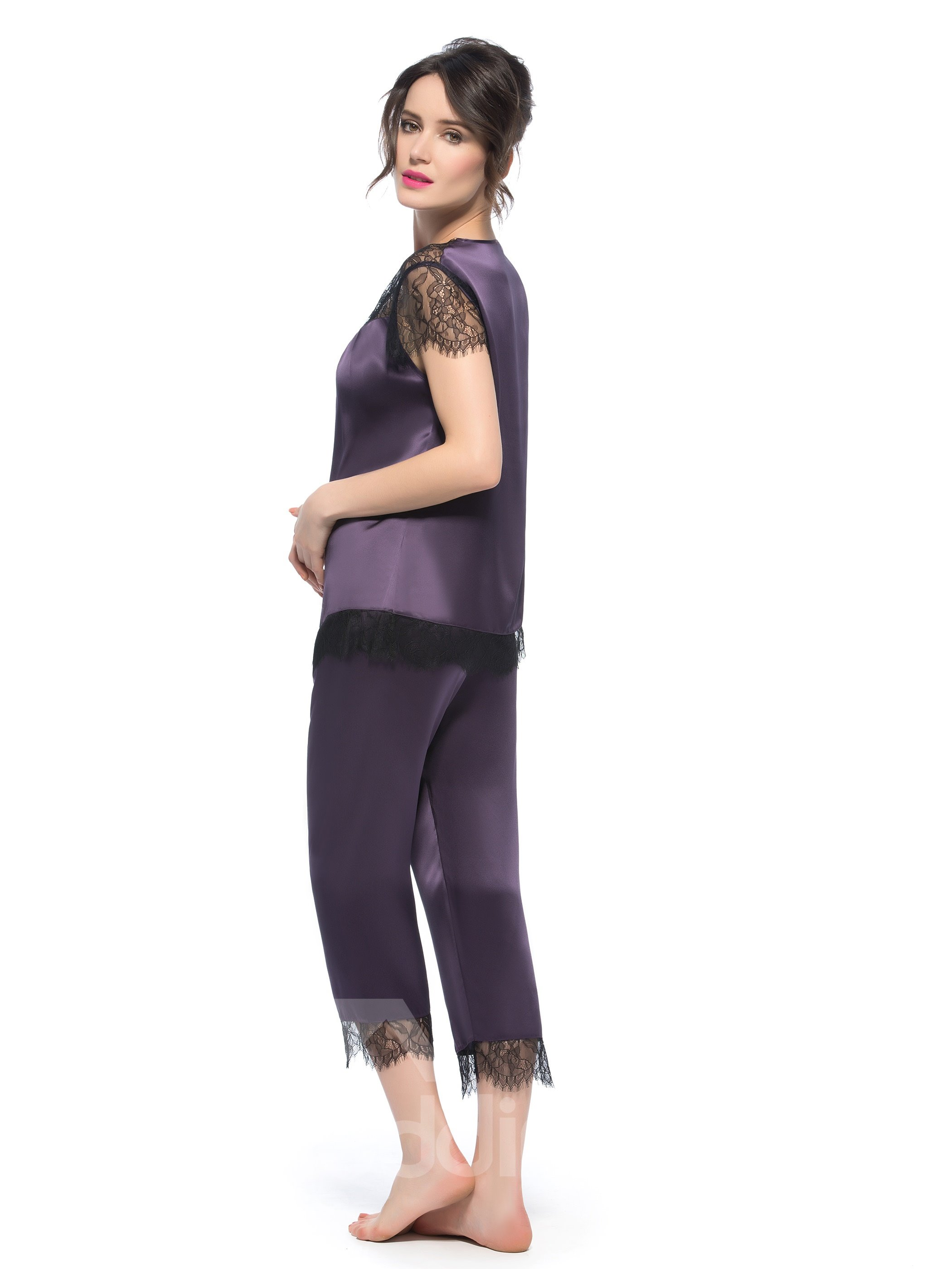 High Quality Purple Lace Capped Sleeves Silk Wrapped Button Pajamas