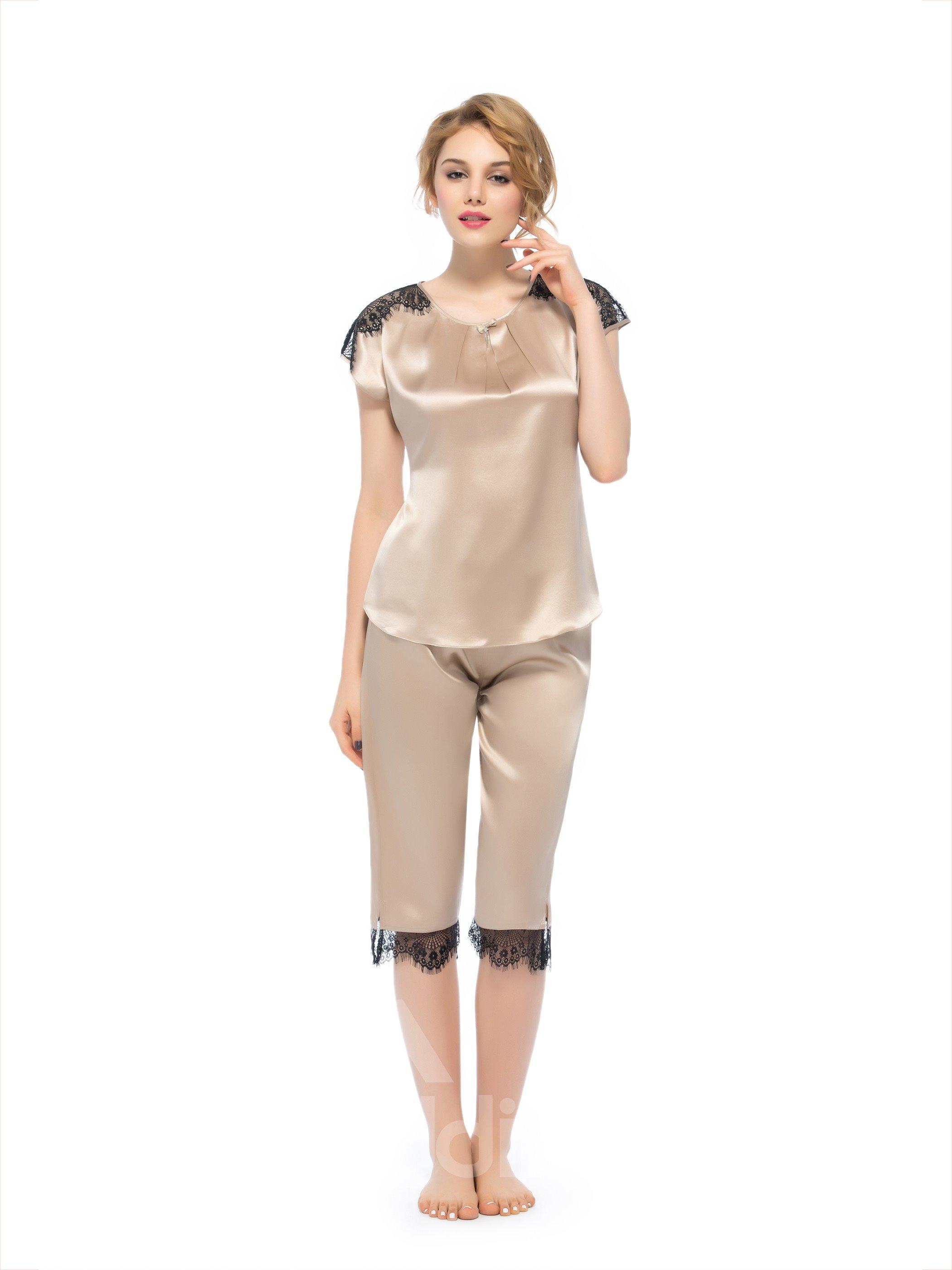 Beautiful Classic Pleated Scoop Neckline Lace Trim Silk Pajamas