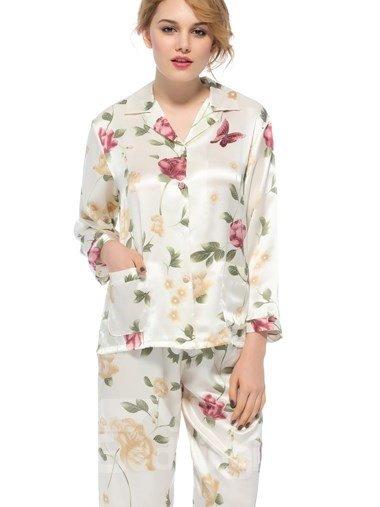 Wonderful Notched Collar Long Sleeves Graceful Sillk Pajamas
