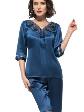 Wonderful Pretty Lace Edged Trim Banded Cuff Silk Pajamas