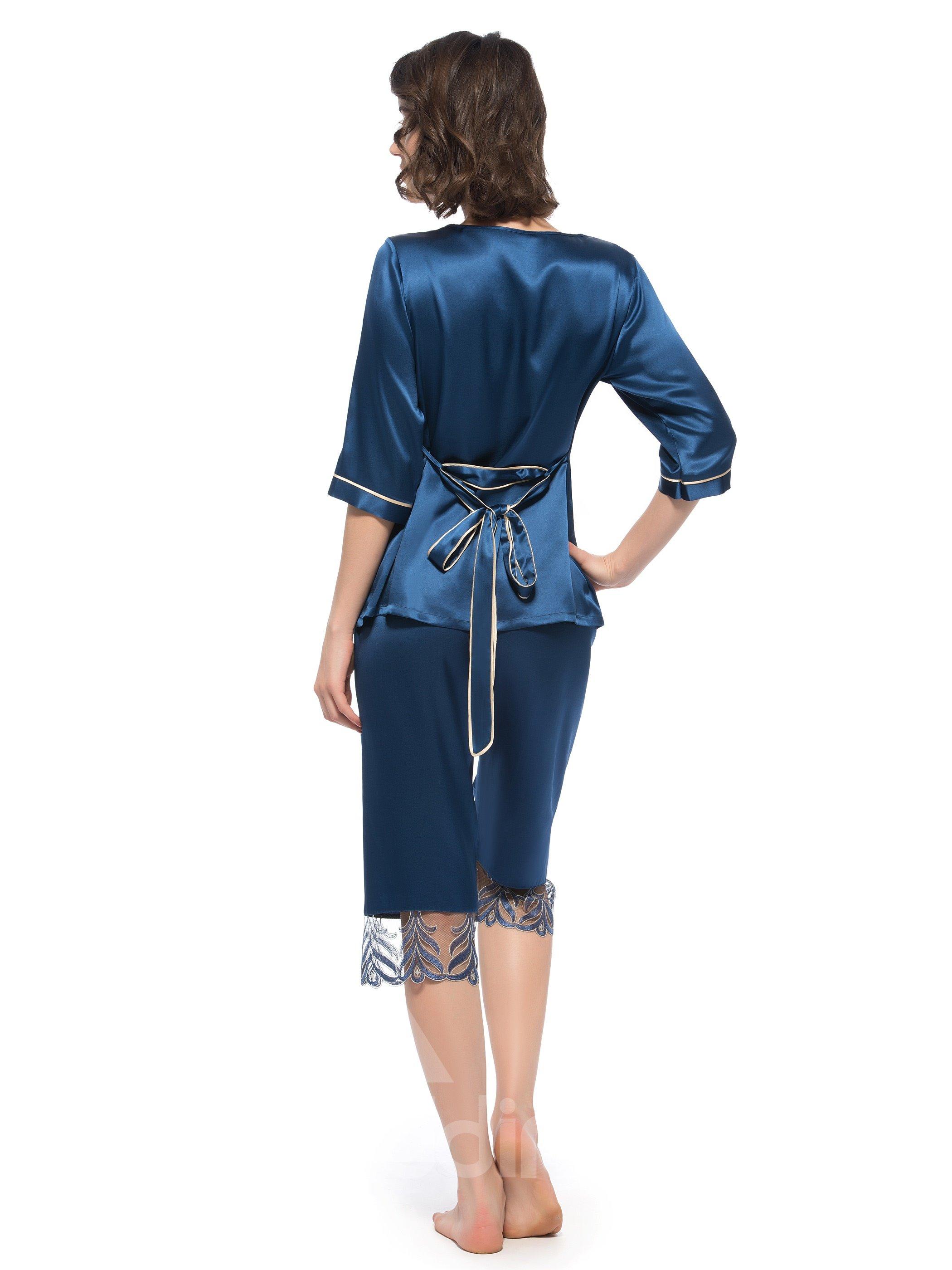 Wonderful Pretty Lace Edged Trim Banded Cuff Silk Pajamas