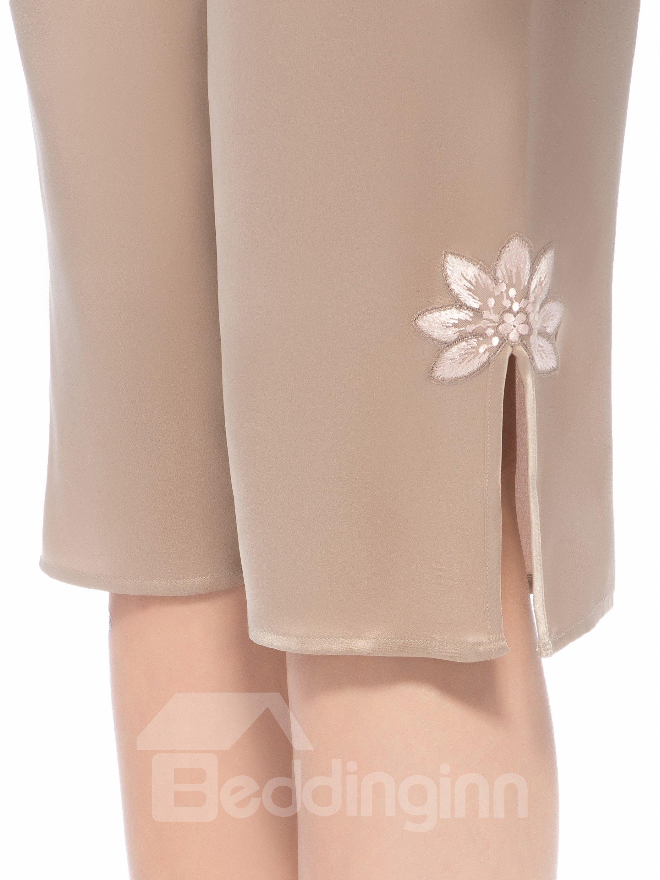 Pretty Embroidery Flower Vent Adjustable Waist Silk Pajamas