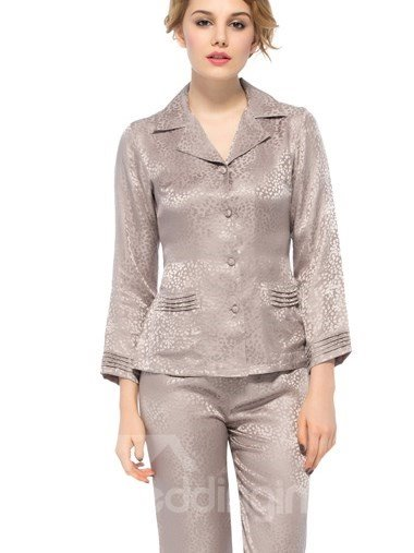 Top Selling Wonderful Two Pockets Belted and Buttoned  Silk Pajamas