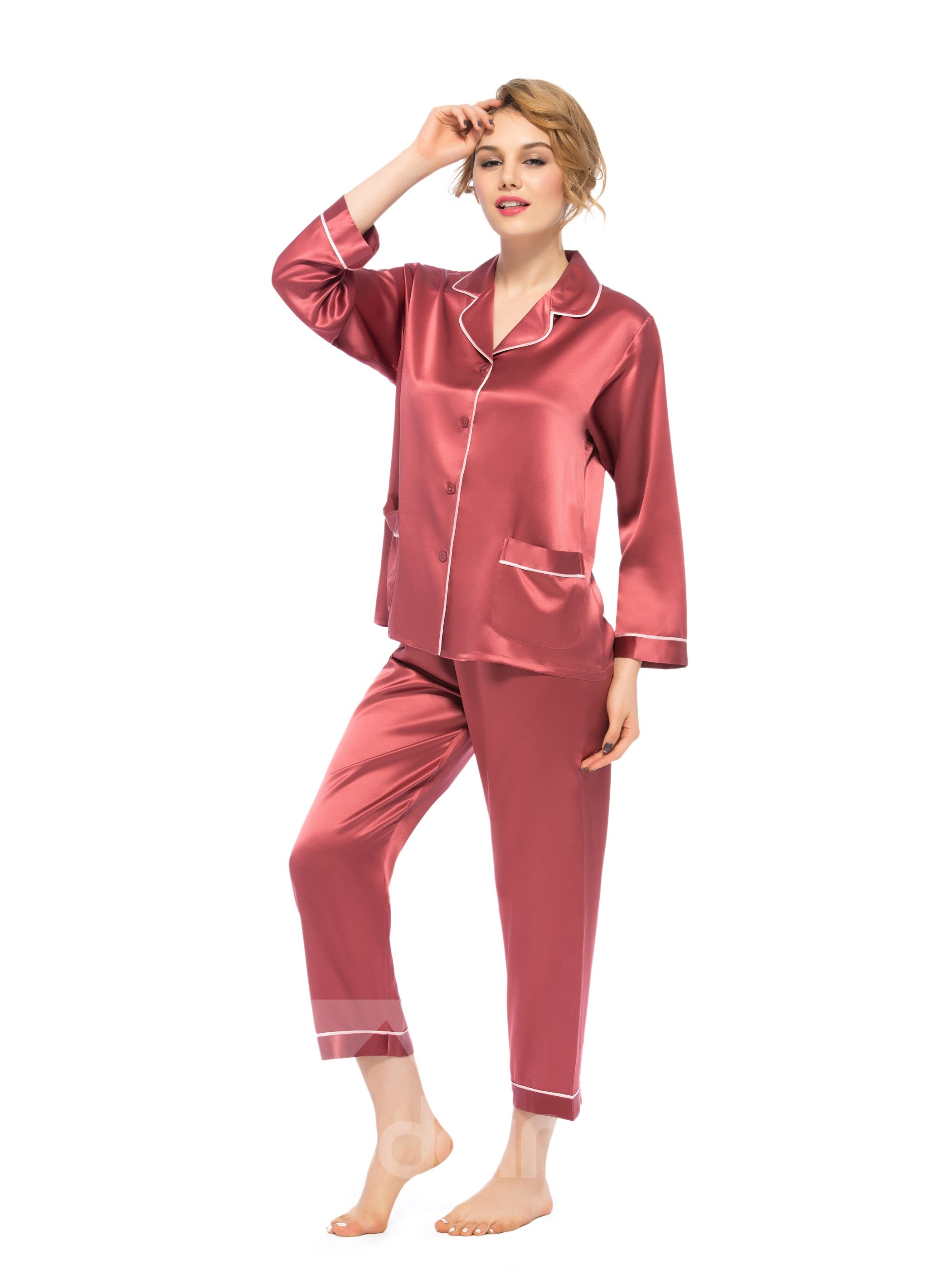 Wonderful Pretty Classic Collar Button Closure Silk Pajamas