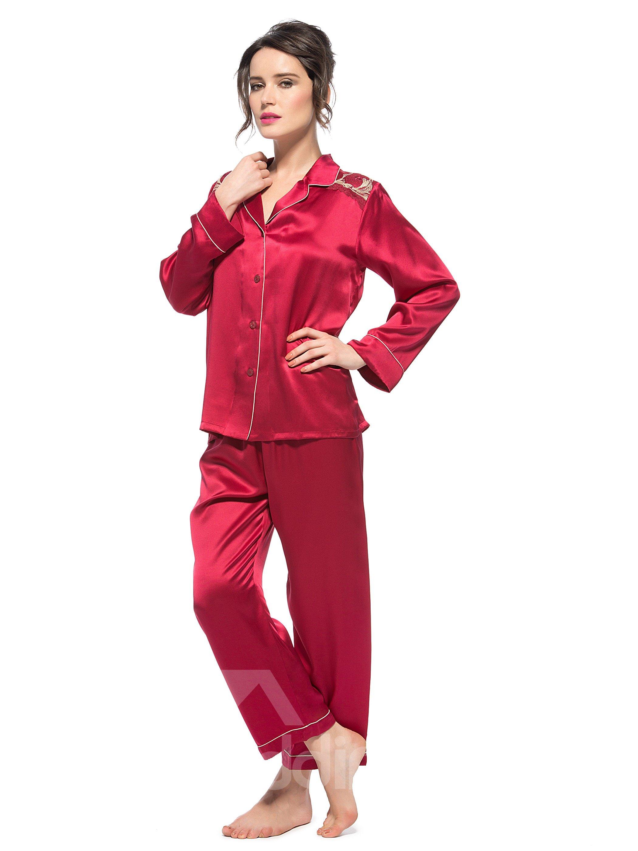 Wonderful Classic Top Quality Lace Closure Silk Pajamas