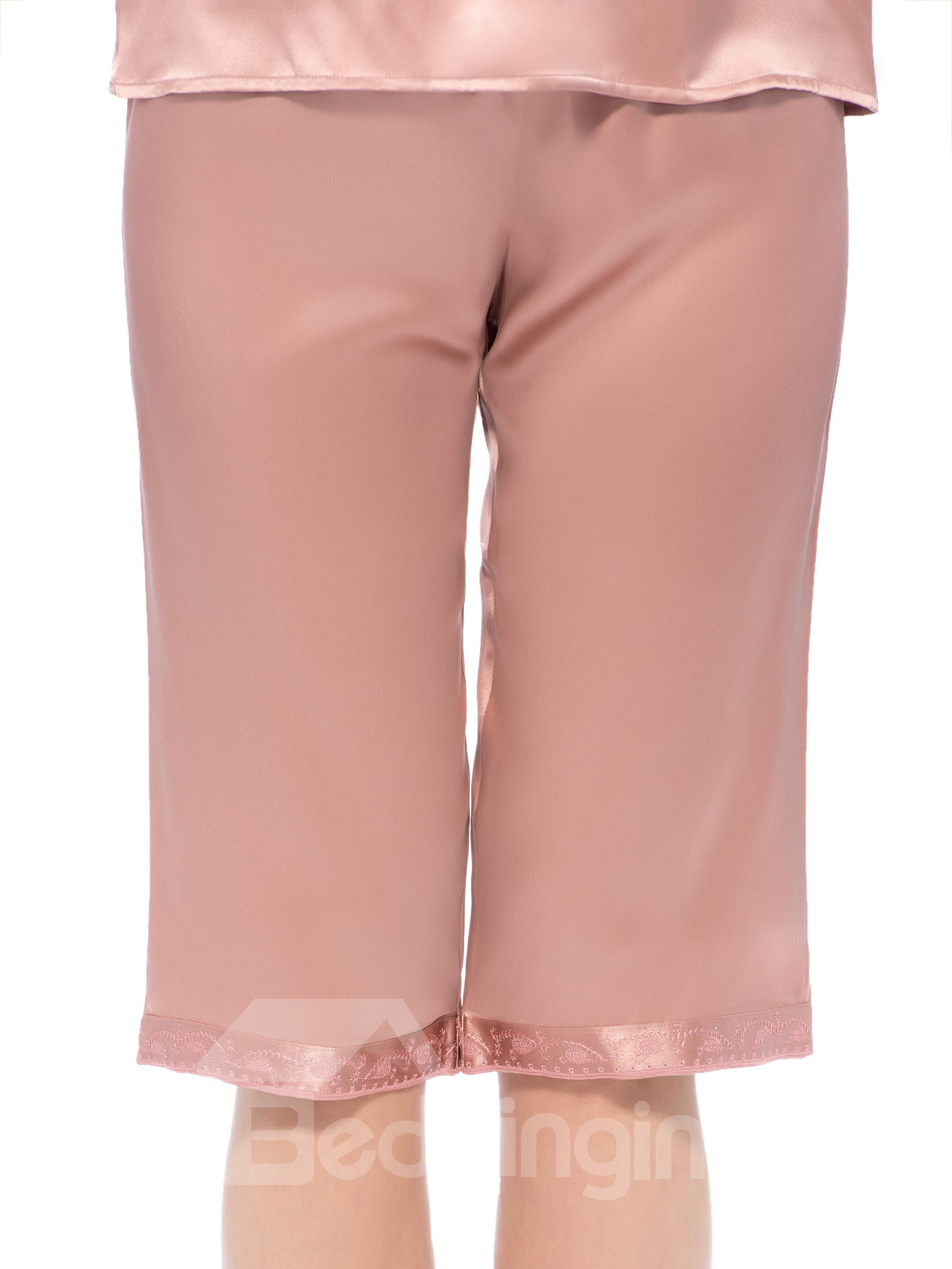 Wonderful Pretty Half Cuff V-Neck Embroidery Silk Pajamas