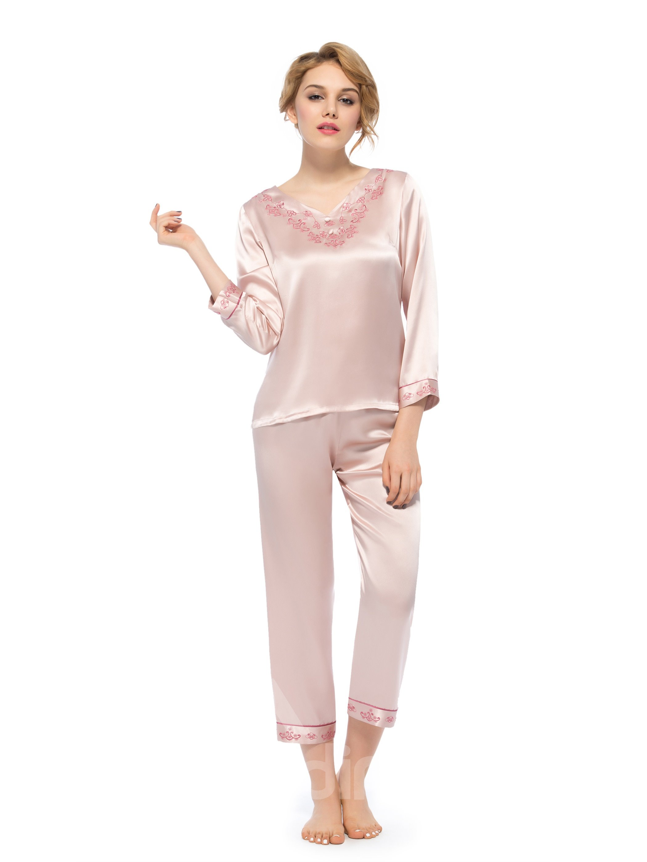 Fantastic Cute Flower Embroidery Full Length Silk Pajamas