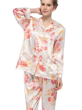Best Selling Pretty Flower Open Collar Long Sleeves Silk Pajamas