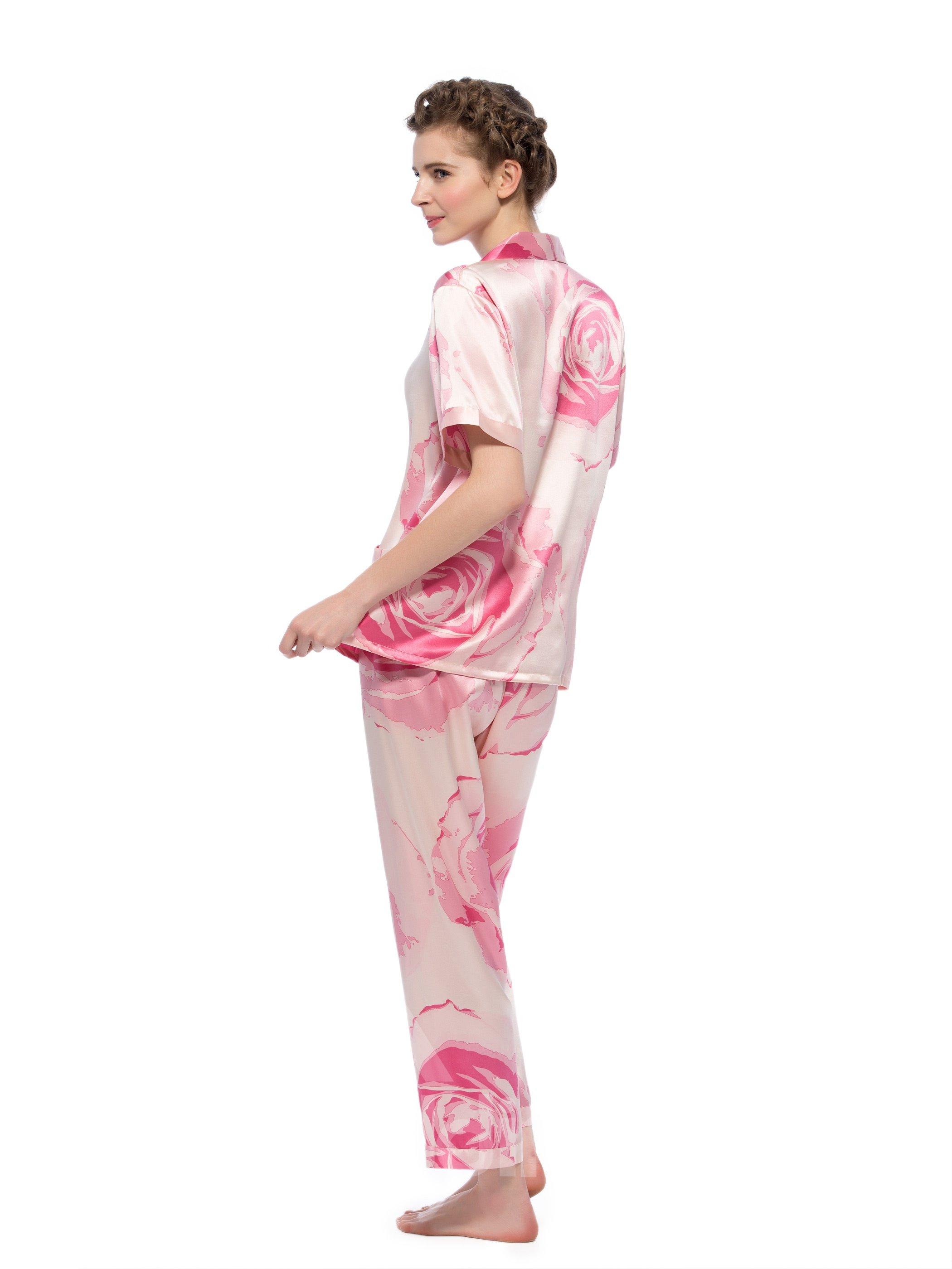 Wonderful Pretty Short Sleeves Silk Wrapped Button Pajamas