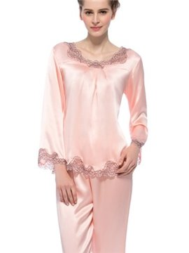 Beautiful Lace Edged Long Flutter Sleeves Silk Pajamas