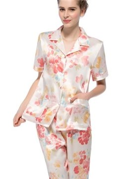 Top Selling Beautiful Flower Short Sleeves Silk Pajamas
