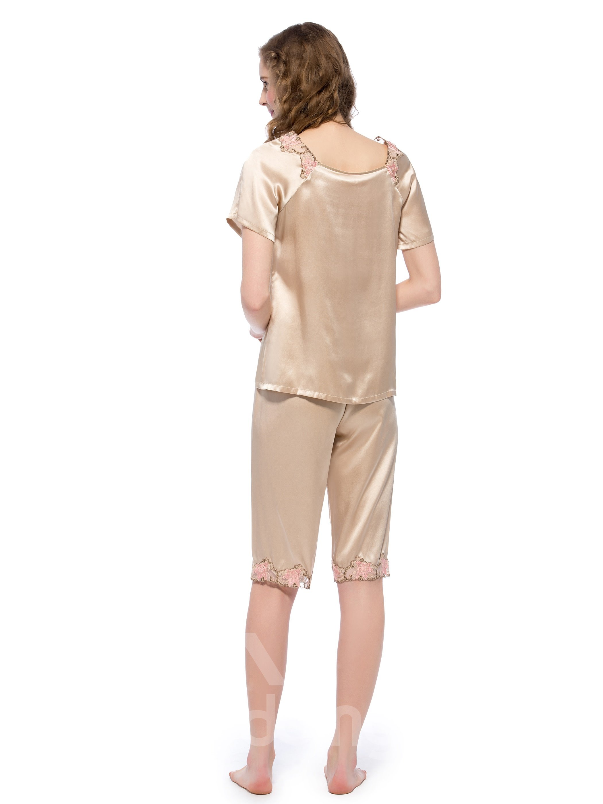 Top Quality Elegant Champagne Mulberry Silk Pajamas