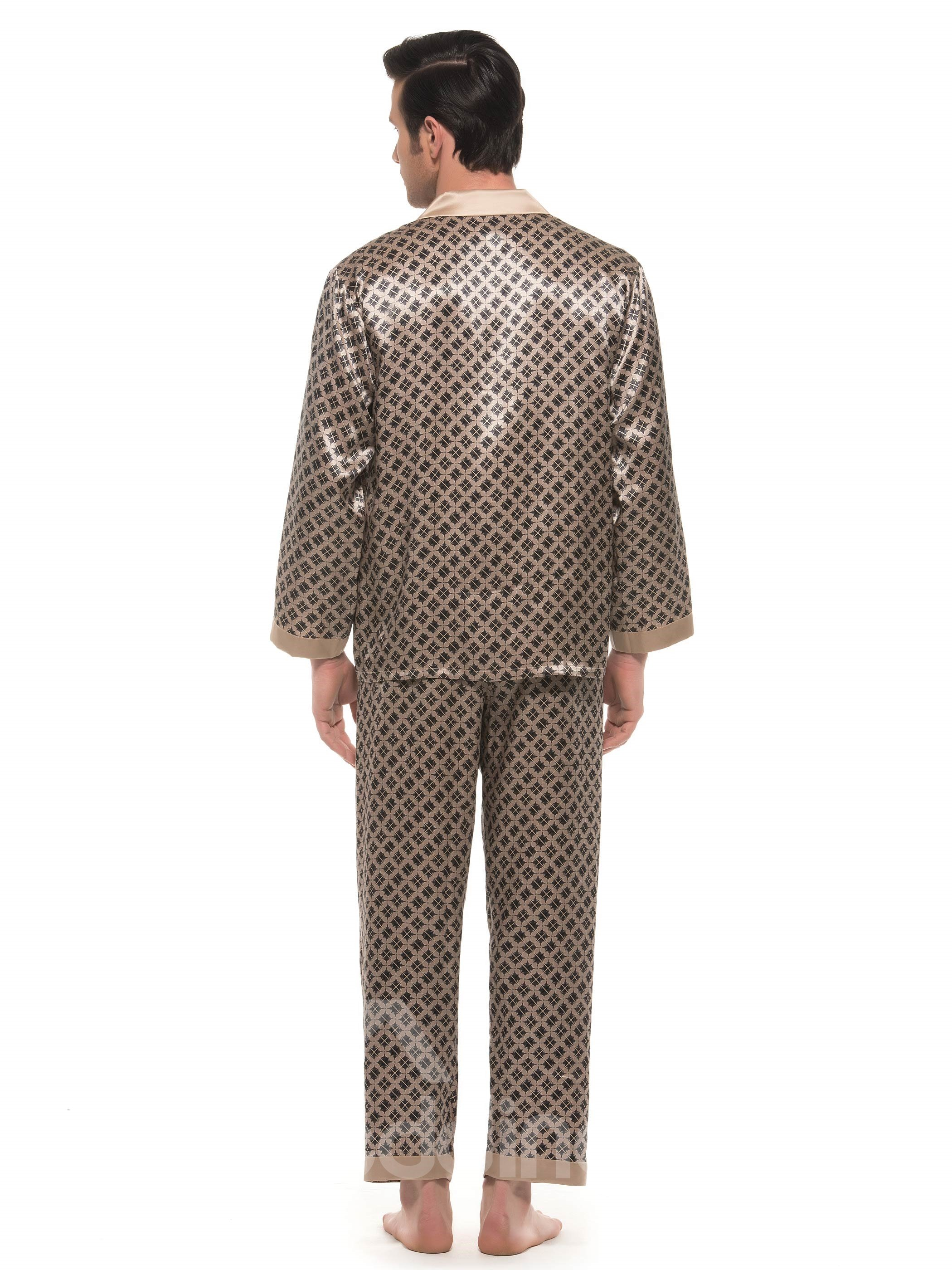 Stylish Pattern Open Collar One Pocket Long Sleeve Silk Pajamas