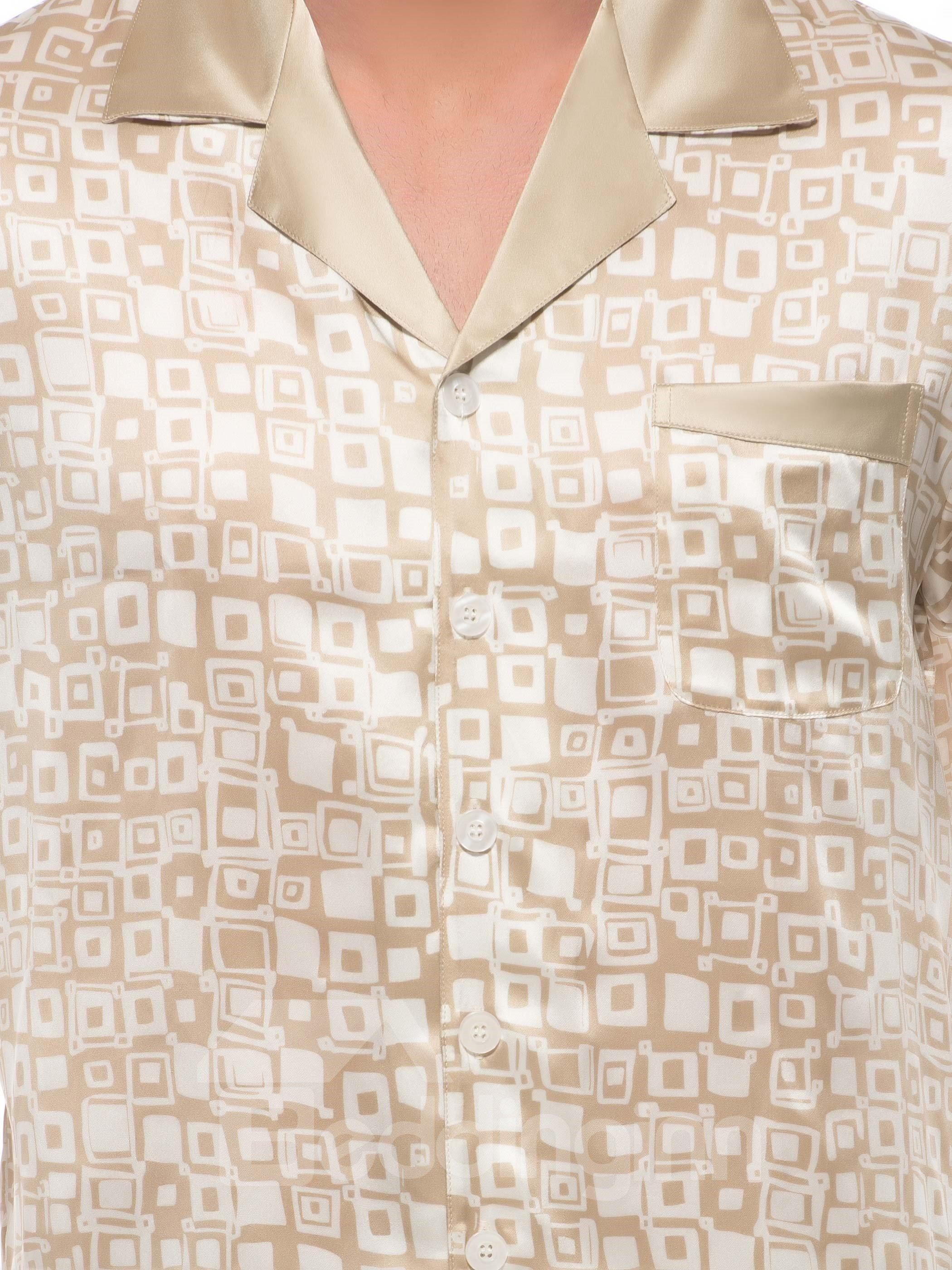 Stylish Apricot Checks Print Open Collar One Pocket Silk Pajamas