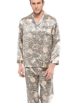 High Quality Paisley Flower Print Open Collar One Pocket Silk Pajamas