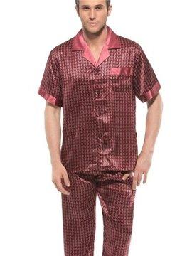 Paisley Flower Print Open Collar One Pocket Mulberry Silk Pajamas