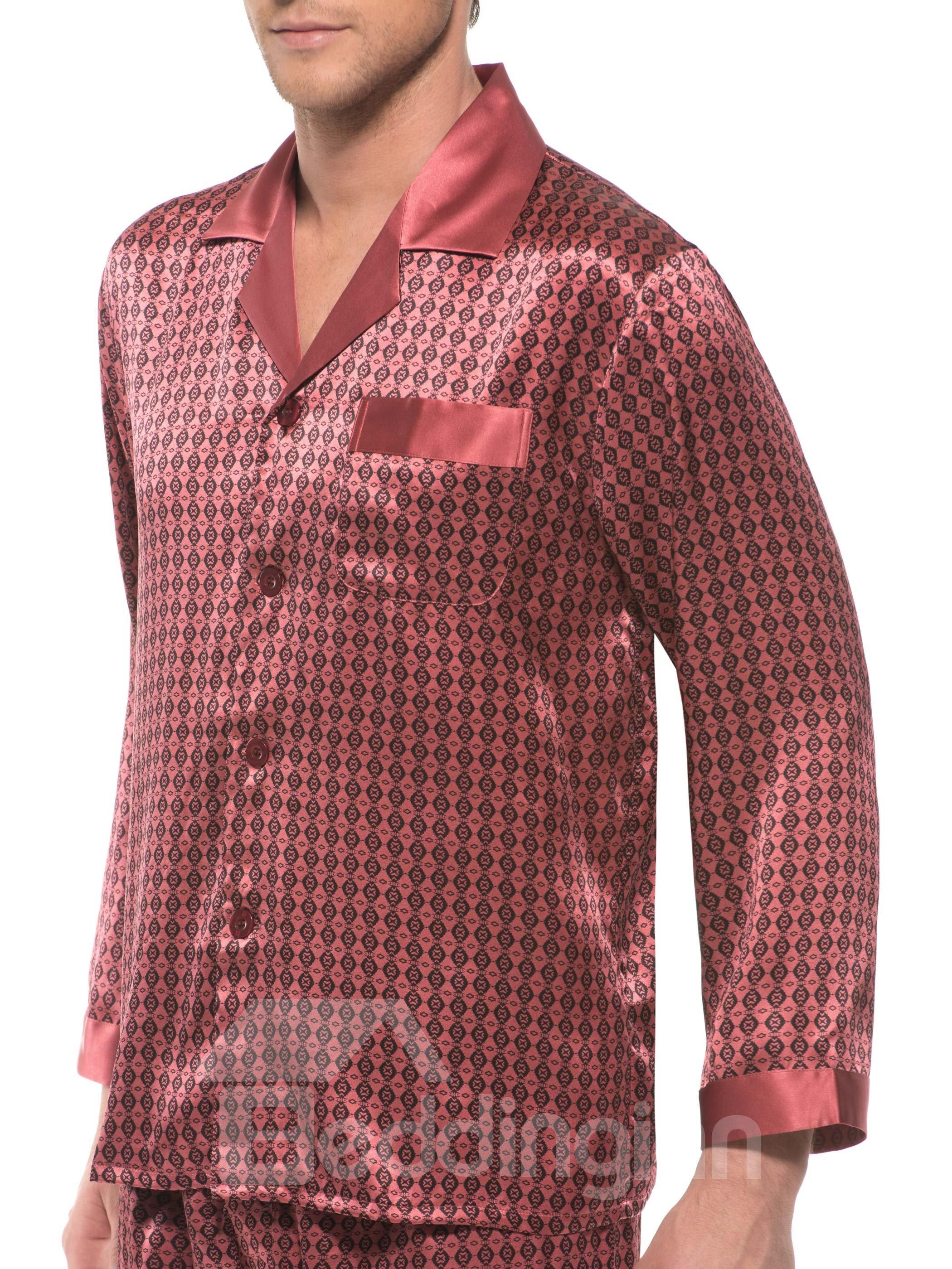 Polka Dot Open Collar One Pocket Mulberry Silk Pajamas