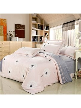 Super Soft Pink Dandelion Print 4-Piece Flannel Duvet Cover Sets