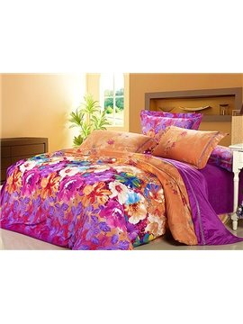 Bright Color Flower Garden 4-Piece Flannel Duvet Cover Sets
