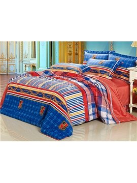 Golden Chain and Ornamental Badge Print 4-Piece Flannel Duvet Cover Sets