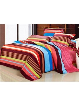 Rainbow Color Stripe Pattern 4-Piece Microfiber Duvet Cover Sets