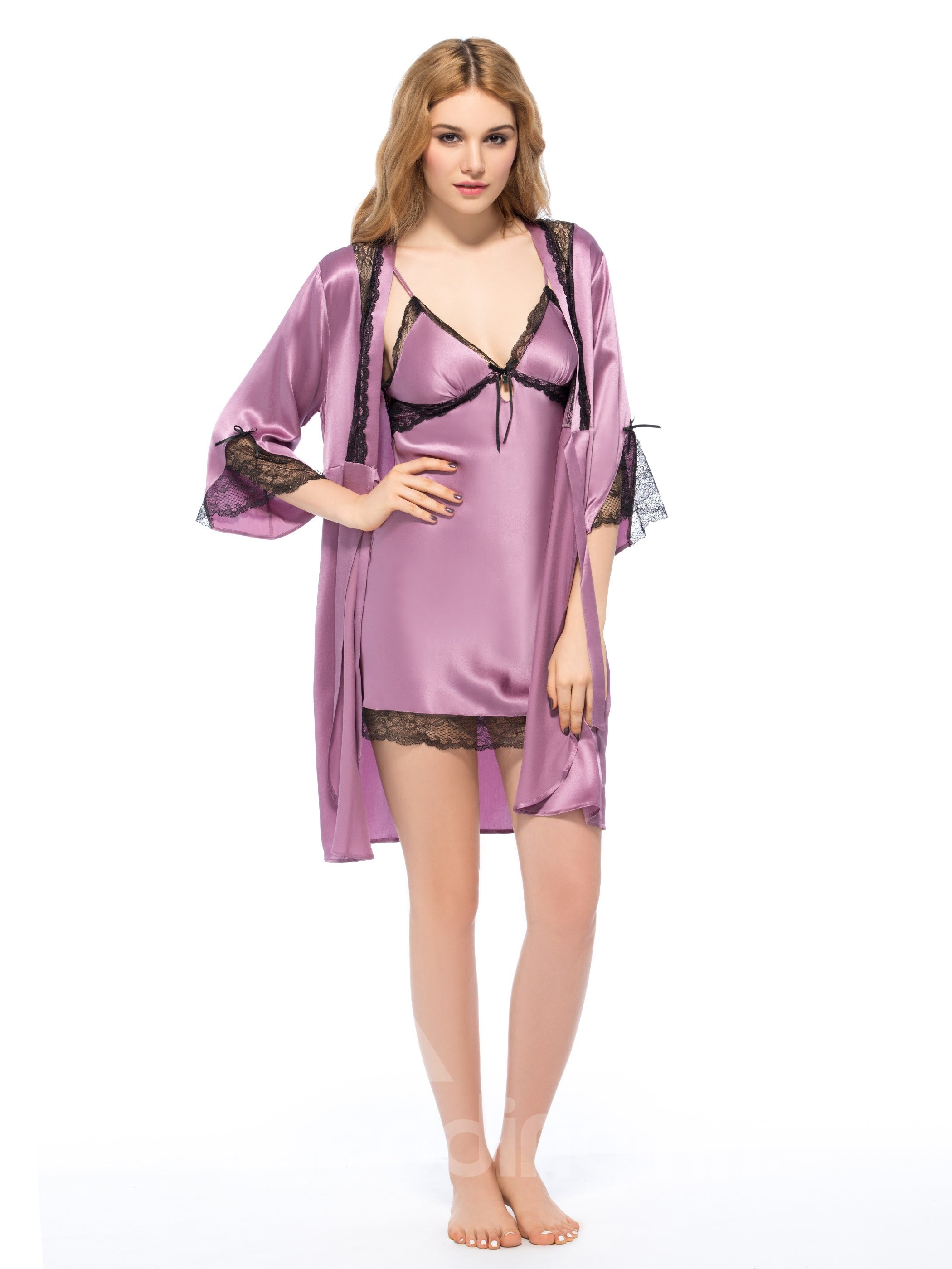 Wonderful Elegant Lace Trim Bust and Hem Silk Robe