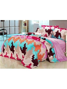 Unique Puzzle Pattern 4-Piece Flannel Duvet Cover Sets