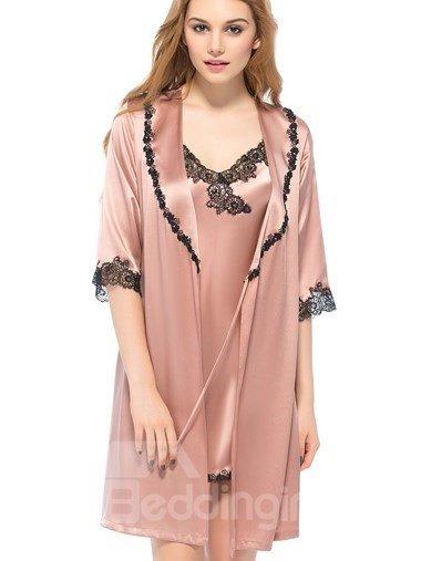 Wonderful Black Flower Embroidery Lace Robe Set