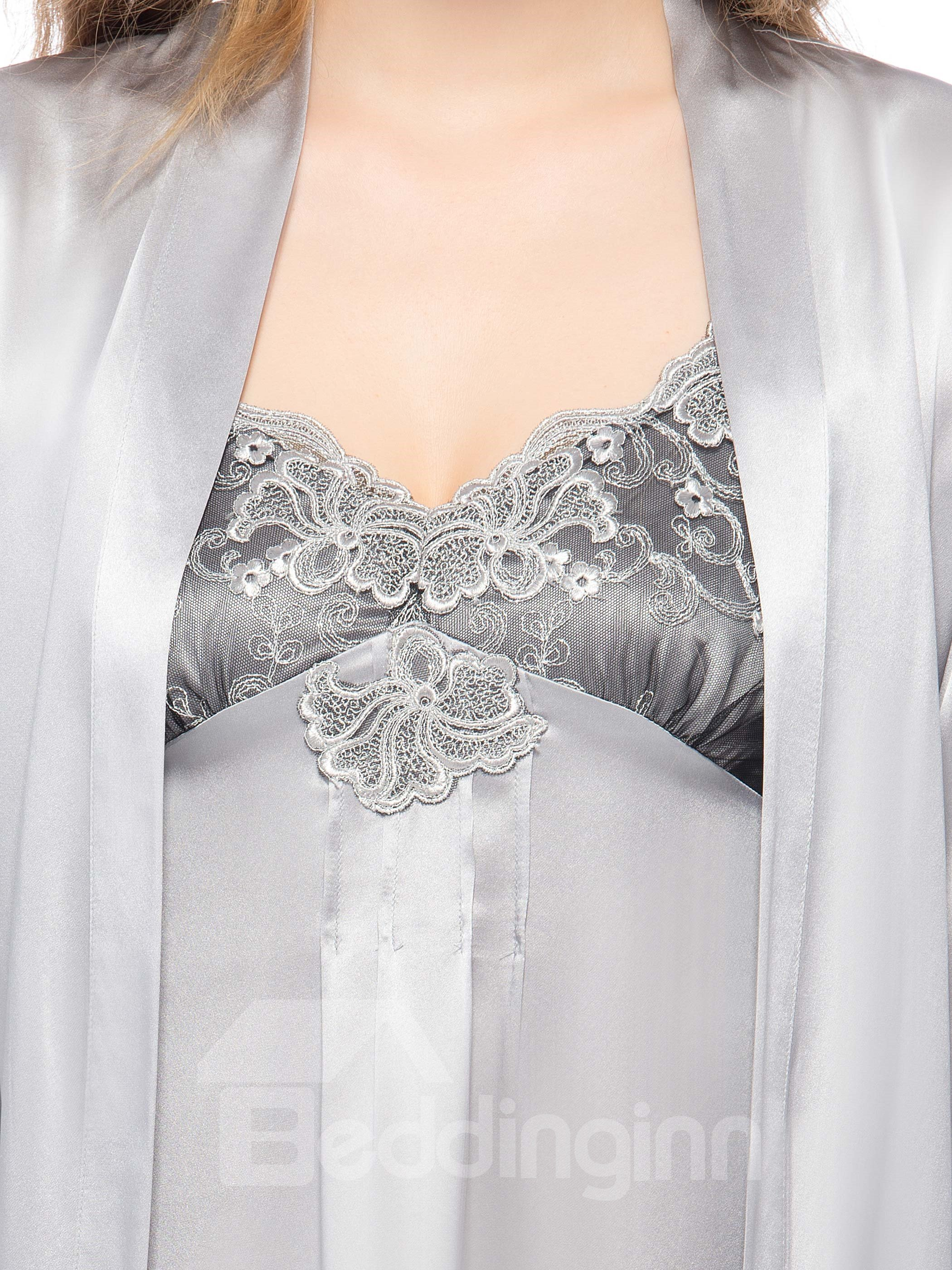 Wonderful Lace Trim Spaghetti Strap Gray Silk Robe Set