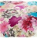 Skincare Flower Print 4-Piece Flannel Duvet Cover Sets
