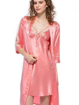 Elegant Lace Silk Robe and Chemises Sets