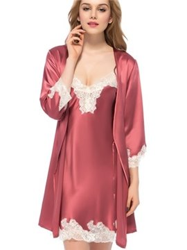 Luxury Noble Lace Silk Robe and Chemise Set