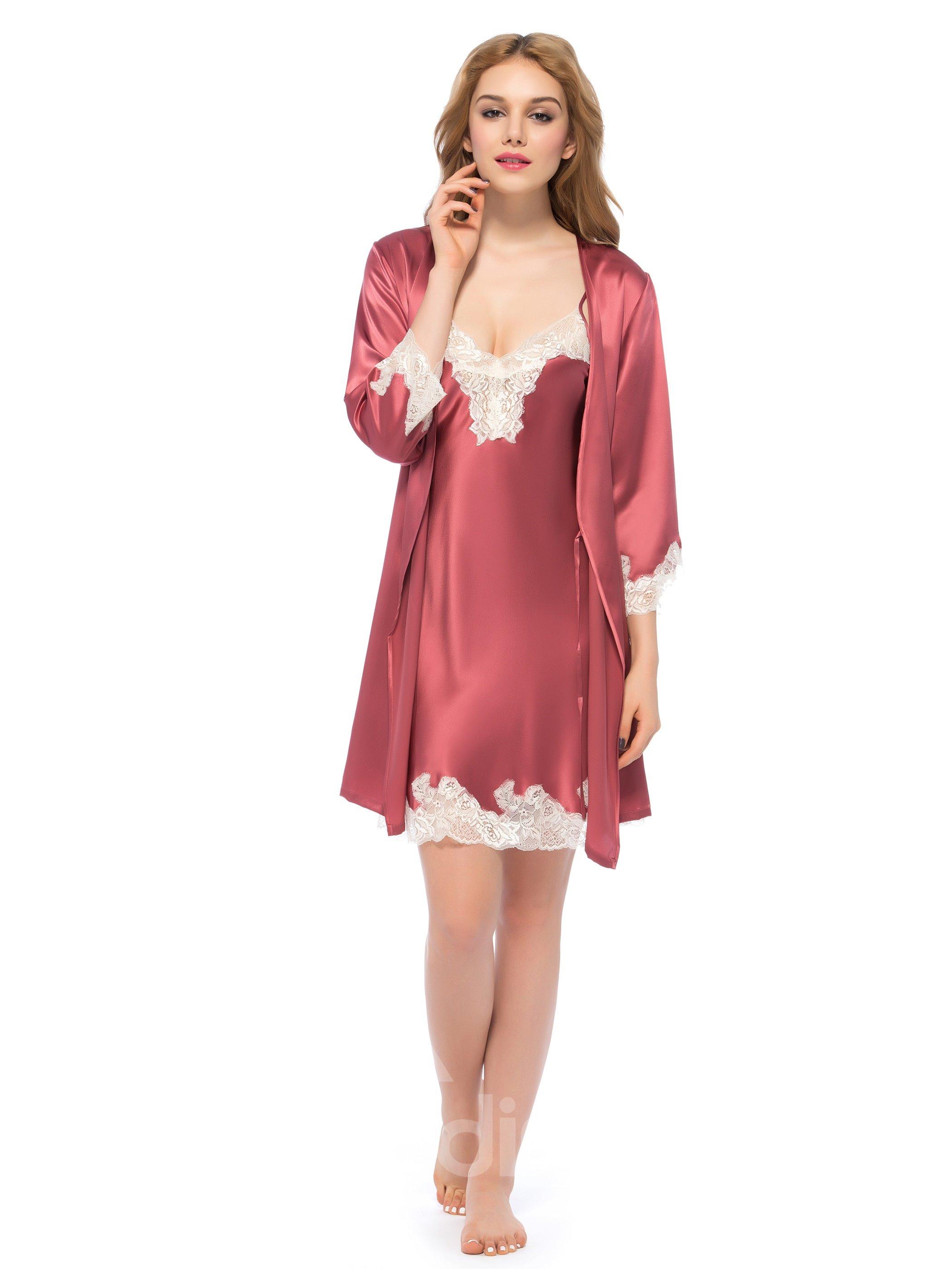 Luxury Noble Lace Silk Robe and Chemise Set