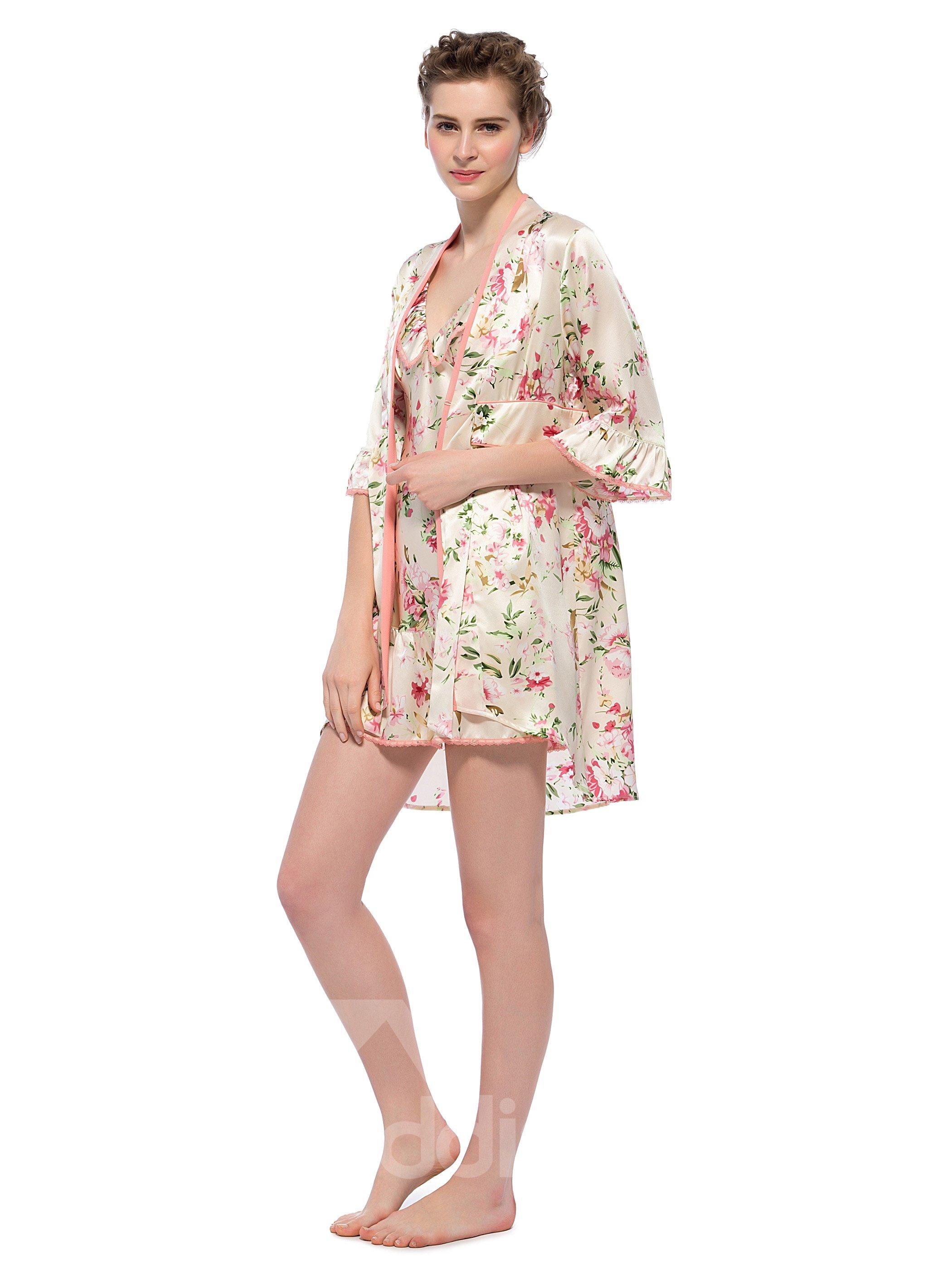 Floral Print Ruffle Trim Belted Silk Robe