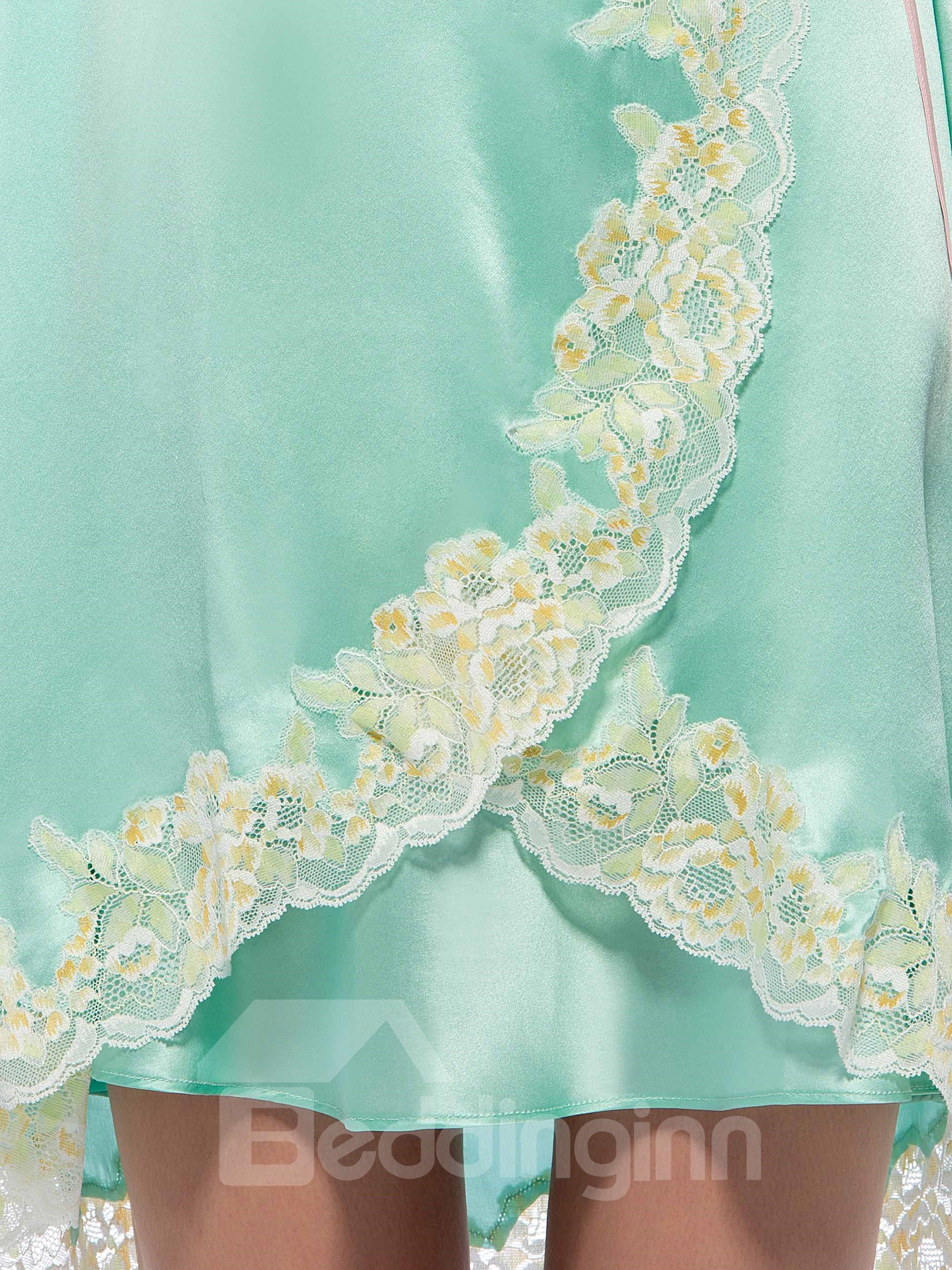 Wonderful Flowers Embroidery Trim Mulberry Silk Robe Set