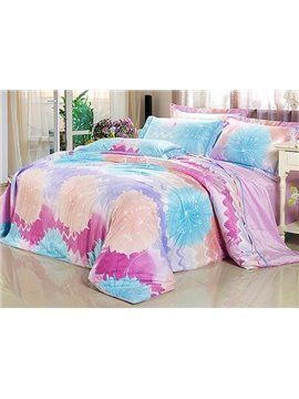 Charming Abstract Flower Print 4-Piece Flannel Duvet Cover Sets