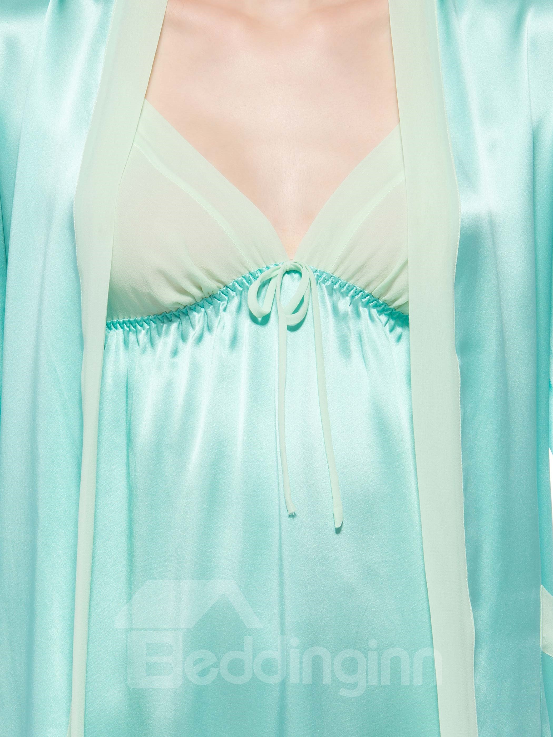Light Green Mulberry Silk Robe and Chemi Set
