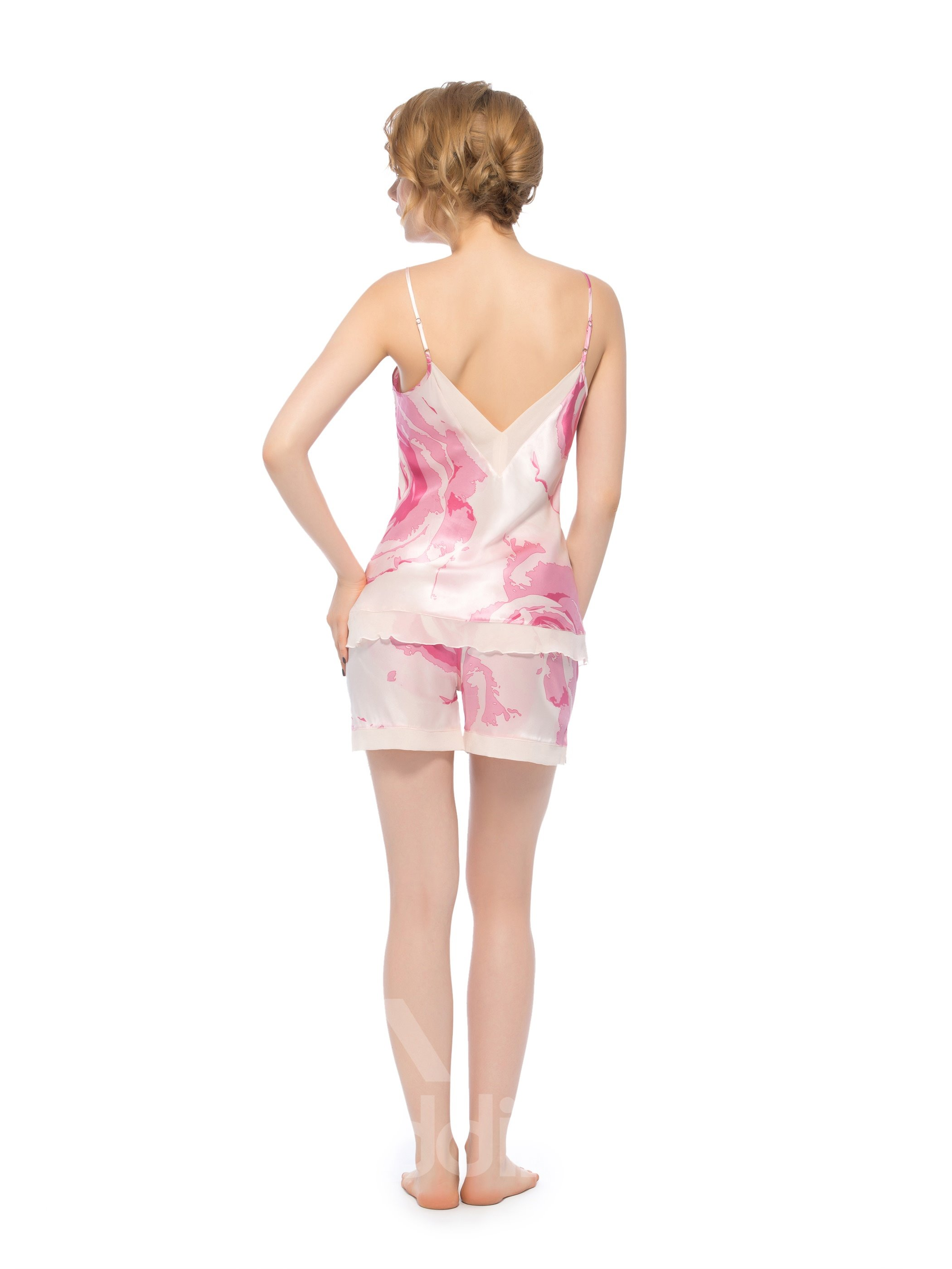 Graceful Pink Deep-V Bust and Back Double Hem Silk Cami Set