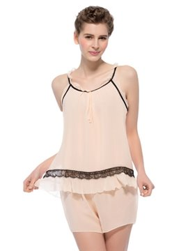 Contra Flouncing Trim with Lace Camisole and Shorts Set