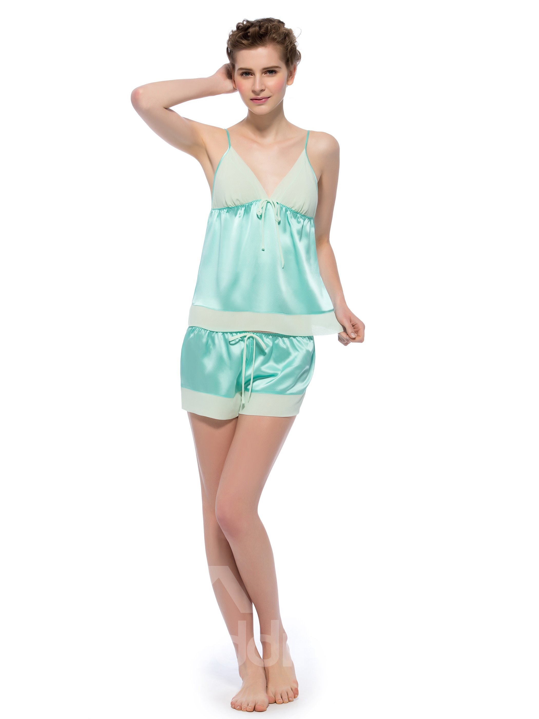 Pretty Light Green Joints Bowknot Mulberry Silk Cami and Short Set