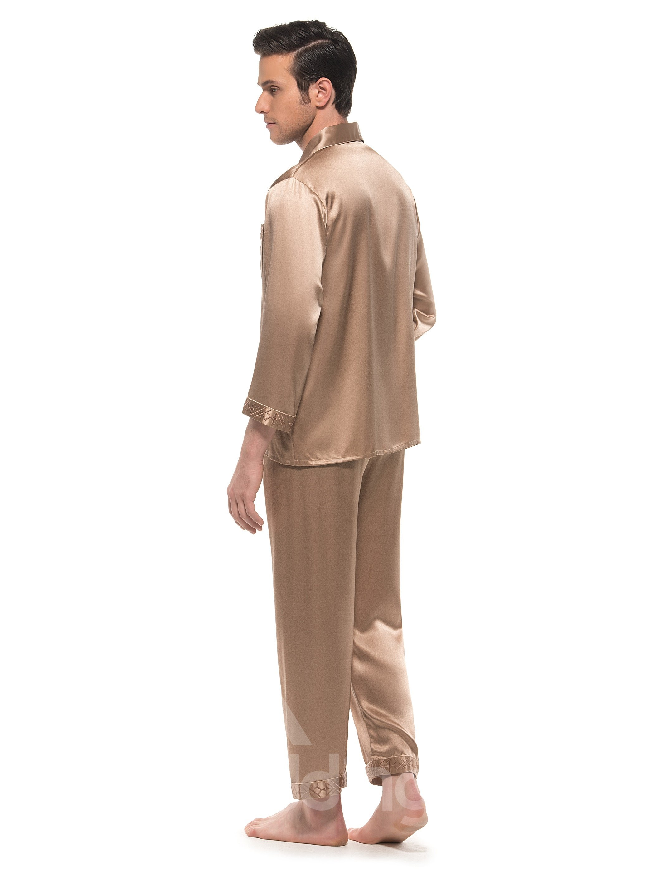 Lilac Embroidery Border Open Collar One Pocket Silk Pajamas