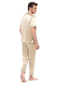Stylish Soft Silk Lilac Open Collar Button Pajamas