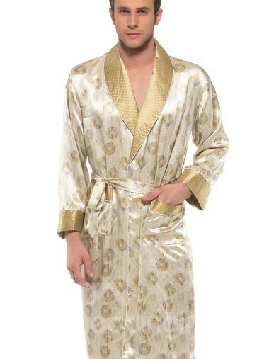 Luxury Golden Circles Pattern Belted Mulberry Silk Robe