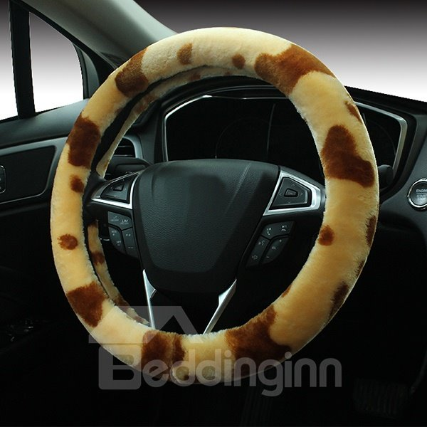 Super Lovely Warm And Comfortable Cow Stripes Pattern Steering Wheel Covers
