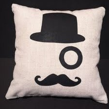 Special Black Hat and Mustache Pattern Throw Pillow