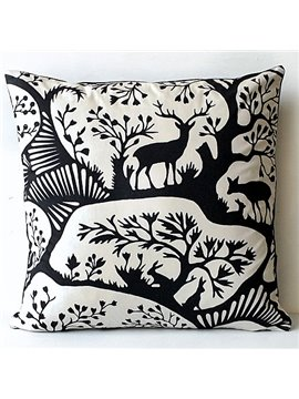 Special Design Deer Walking in the Forest Pattern Throw Pillow