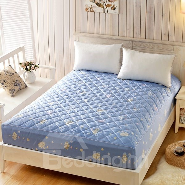 Soft Thicken Padding Style Blue Background Pattern Fitted Sheet