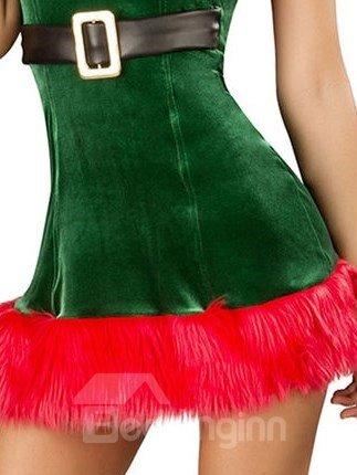 Sexy Green and Red Contra Color Christmas Costume