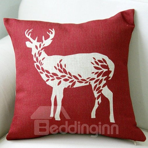 Christmas Gift Red Deer Pattern Soft Throw Pillow